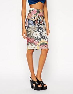 Image 4 ofASOS Scuba Pencil Skirt In Geo Floral Print