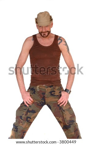 aged man with tattoo, hat and
