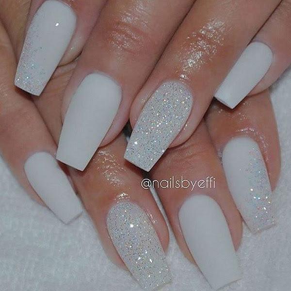 White Matte Nails with Diamond Glitter.