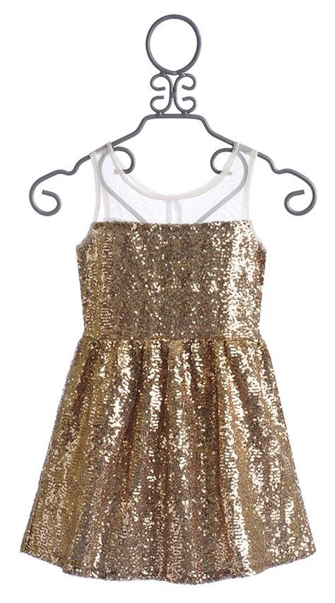 elisa  tween party dress gold sequin girls special