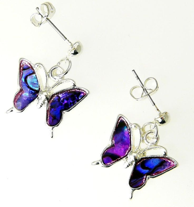 Beautiful Natural Purple Abalone Paua Shell Butterfly Earrings In Gift Box - D: Jewelry