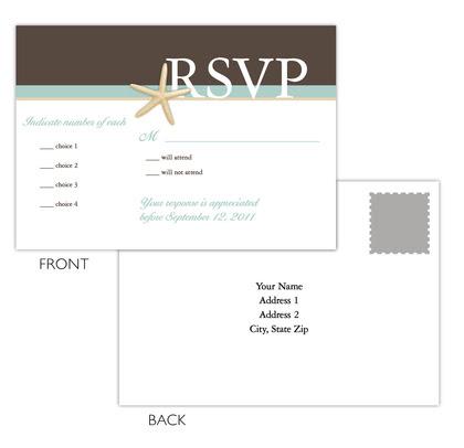 wedding invites brown teal starfish RSVP