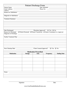 Editable Hospital Discharge Papers