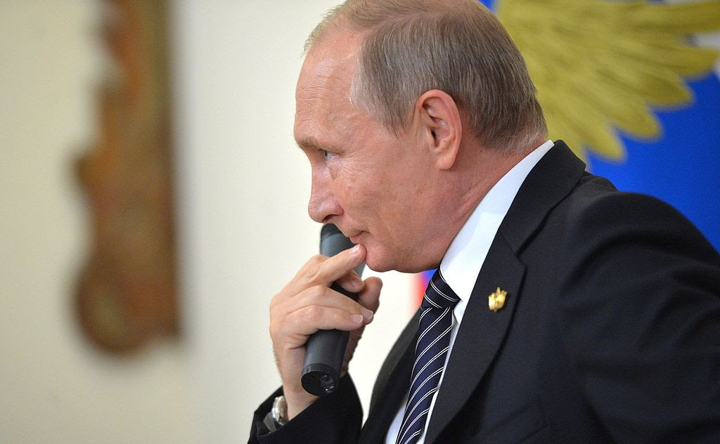 Vladimir Putin answers questions from the press at the October 2016 BRICS Summit. Wikimedia Commons/Kremlin.ru