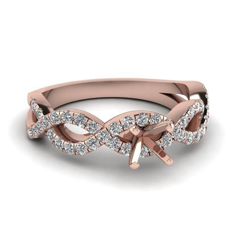 Princess Cut Infinity Diamond Ring With Ruby In 14K Rose