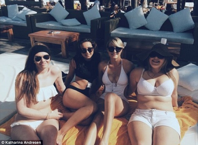 Girlfriends: Katharina is always surrounded by a group of friends, whether they're lounging on a luxury private yacht in the sun, or catching up over glasses of wine in Amsterdam