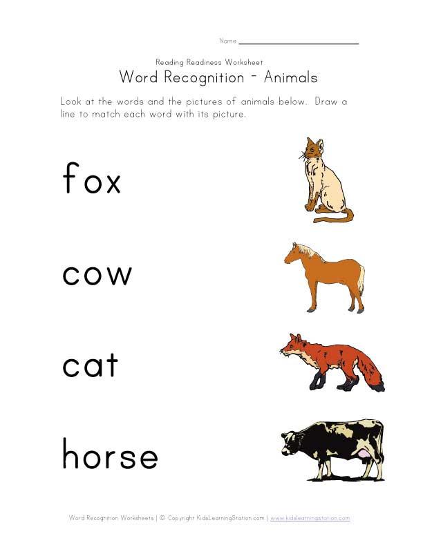 recognize animal names worksheet