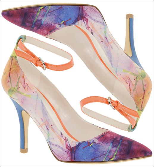 NEON PAINT SPLATTER PRINT ANKLE STRAP STILETTO HEELS ALDO McCamish Printed Pointed Court Fashion Blog