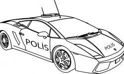 Lamborjini Polis Araba Boyama Sayfası