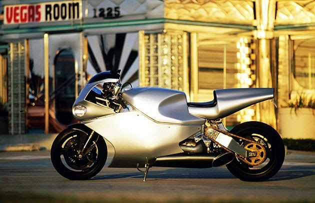 "Only bike for driving on normal roads, which is equipped with aircraft gas turbine engines.  Furthermore, the model Y2K entered twice entered in the Guinness Book of Records as the ""most powerful production motorcycle"" and ""most expensive production motorcycle""."