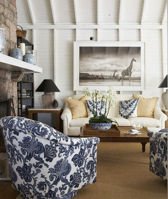 Transitional living room with blue and white fabric. #livingroom #Blueandwhite #Fabric Anne Hepfer Designs.
