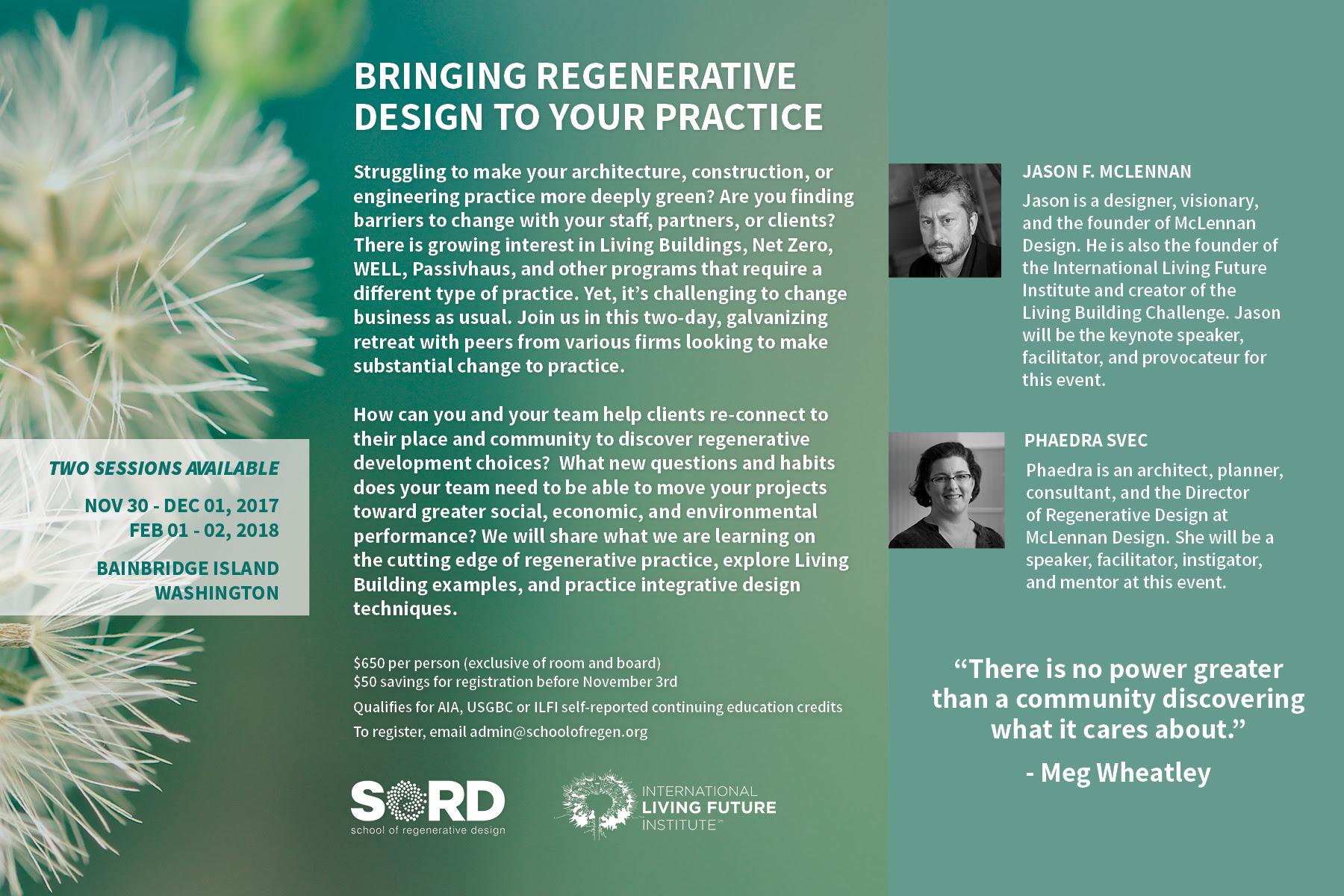 Workshop Bringing Regenerative Design To Your Practice Mclennan