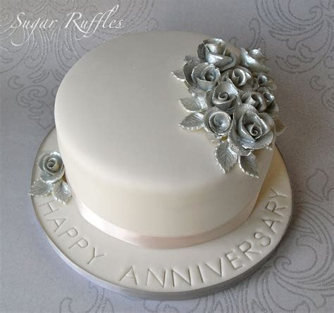 Silver Wedding Anniversary Cake and Cupcakes