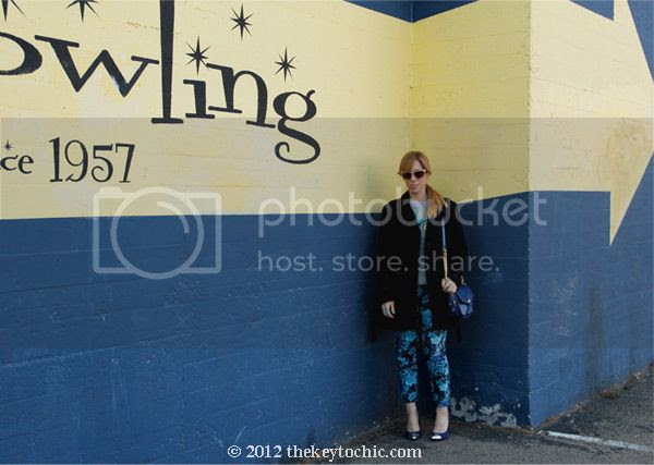Mossimo owl sweater, Else floral jeans, Old Navy wool peacoat, Mossimo cap toe Viveca pumps, LA fashion blog