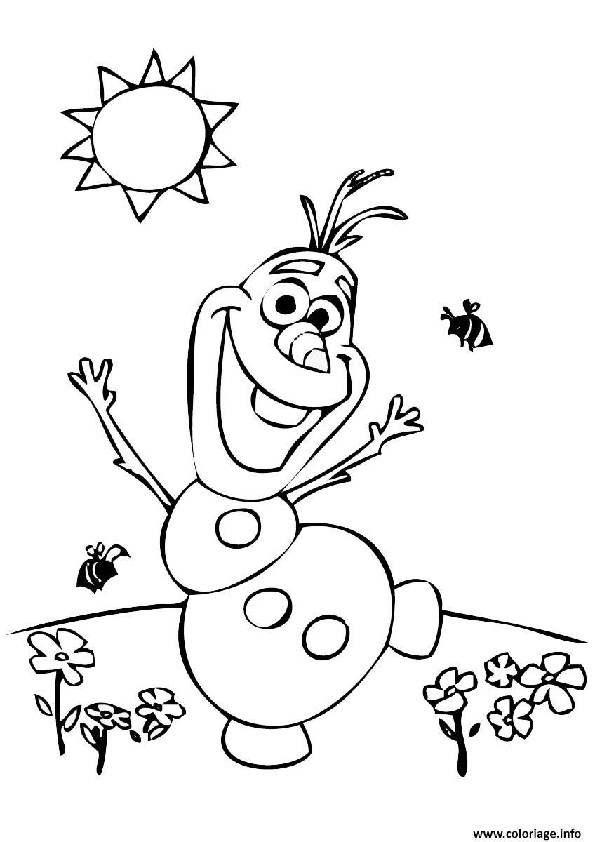 Coloriage Olaf Au Soleil Avec Des Fleurs Et Abeilles Jecoloriecom