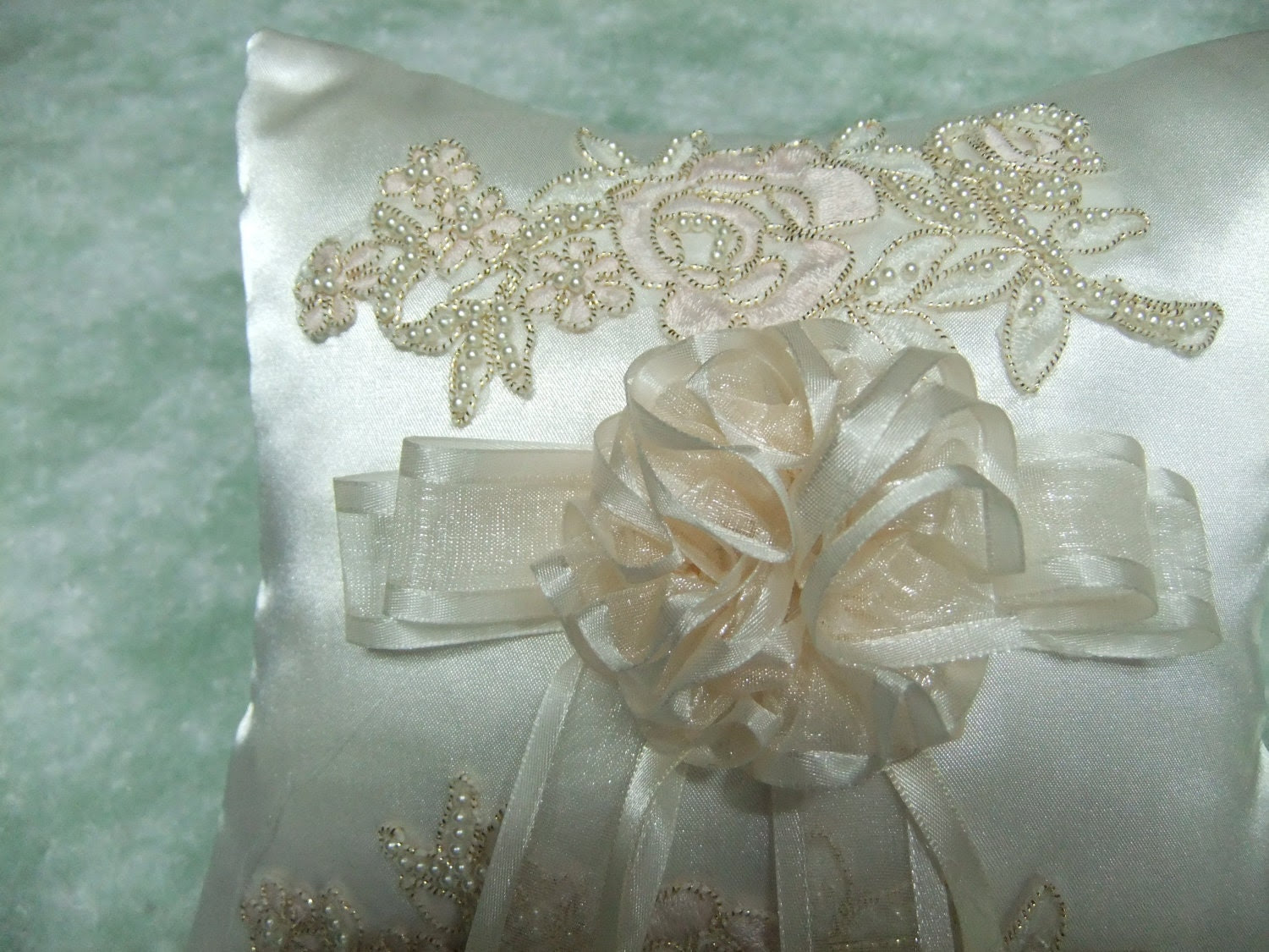 Ivory Satin Ring Pillow With Beaded Motif - Ring Bearer