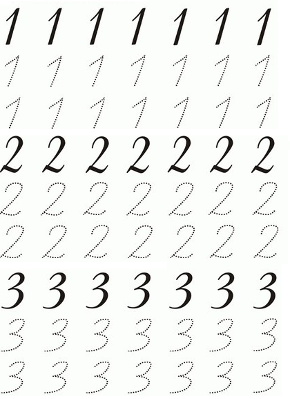 Okul öncesi Eğitimi 123 Rakamları çalışma Sayfaları