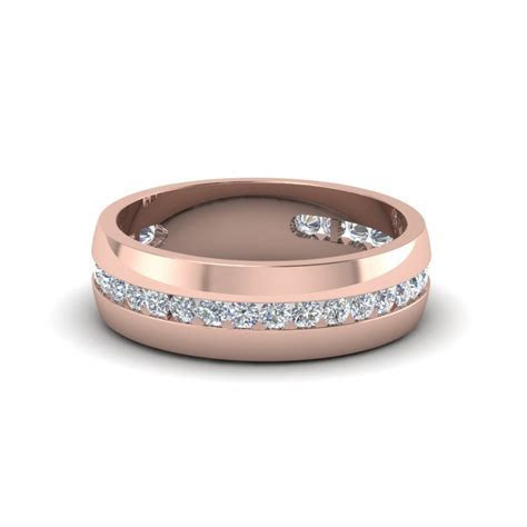 Mens Diamond Channel Wedding Band In 14K Rose Gold