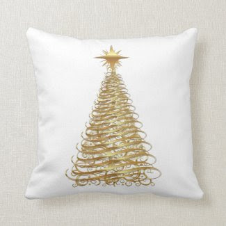 Gold ribbon christmas tree pillows