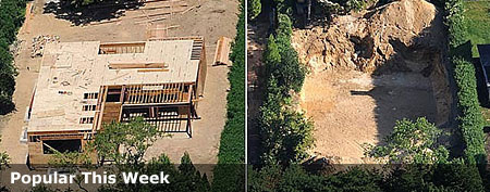 An aerial view shows Eric and Margaret Friedberg's home under construction, May 31, 2012, left, and on June 28, 2012, after it was torn down. (Good Morning America)