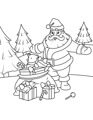 Santa Claus with Gifts coloring page | Free Printable ...