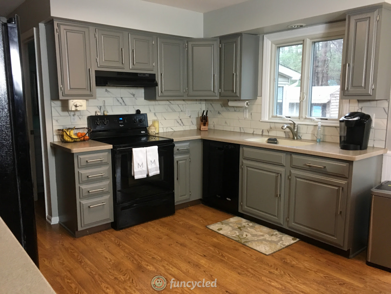 Oak Kitchen Cabinets Painted Chelsea Gray - FunCycled