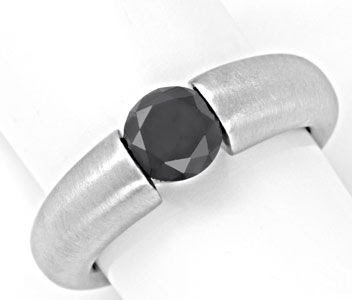 Originalfoto DIAMANT-SPANNRING 1,43 ct SCHWARZER BRILLANT 18K LUXUS!