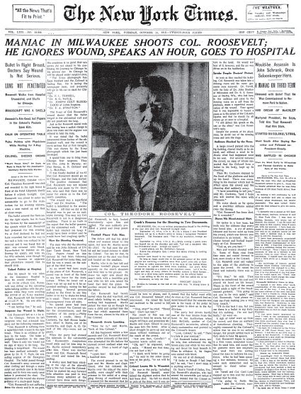 Image result for Theodore Roosevelt was shot while campaigning in Milwaukee