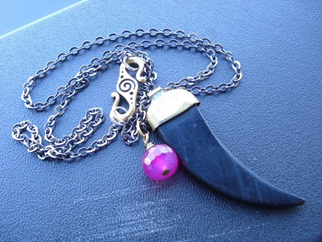 Tusk Pendant with Pink Agate Charm on a Gunmetal Chain Necklace