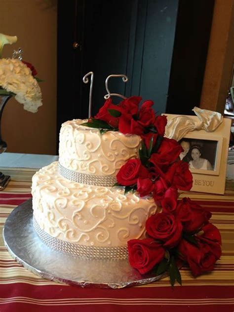 15th Anniversary Cake with fresh roses, iced in decorated
