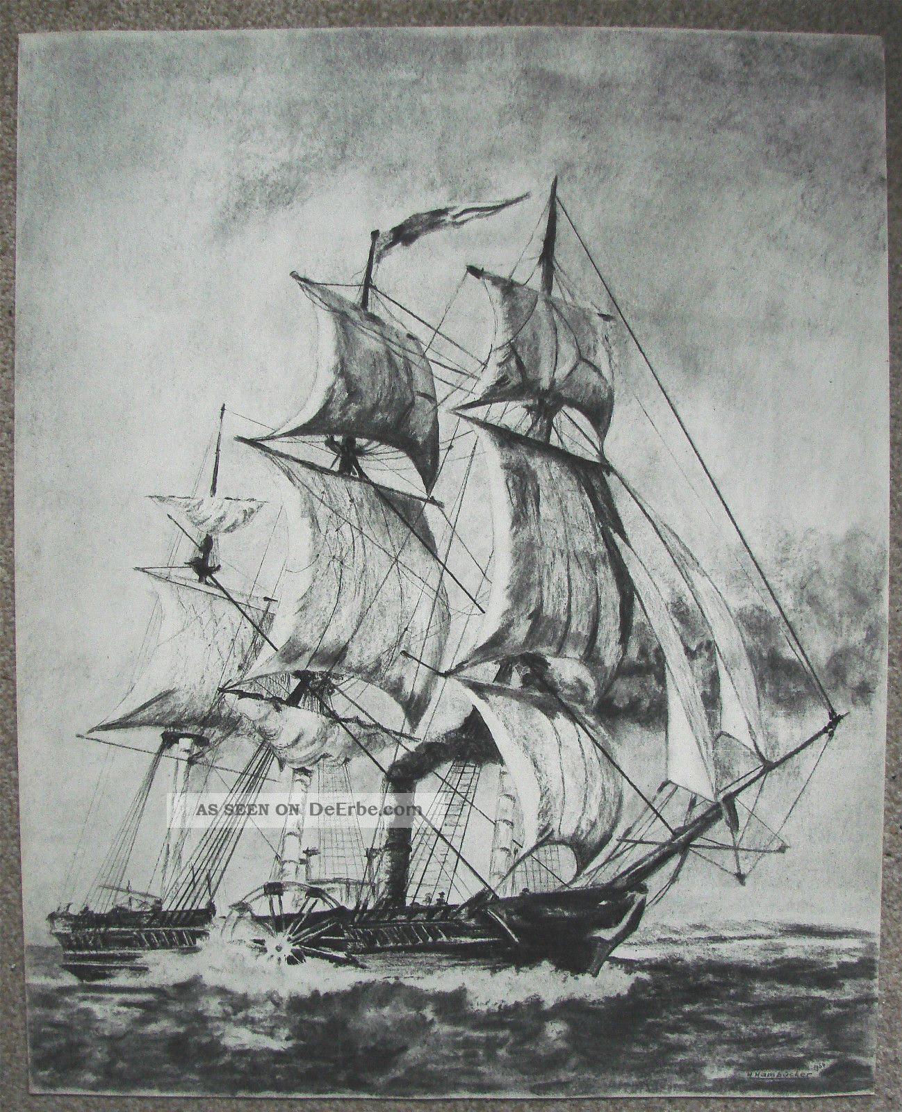 Groß Rad Dampf Segelschiff Wheel Ship Kohl - Bleistift ...