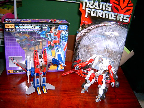 Transformers Starscream G1 (Encore Reissue) y Movie Wreckage (Deluxe)