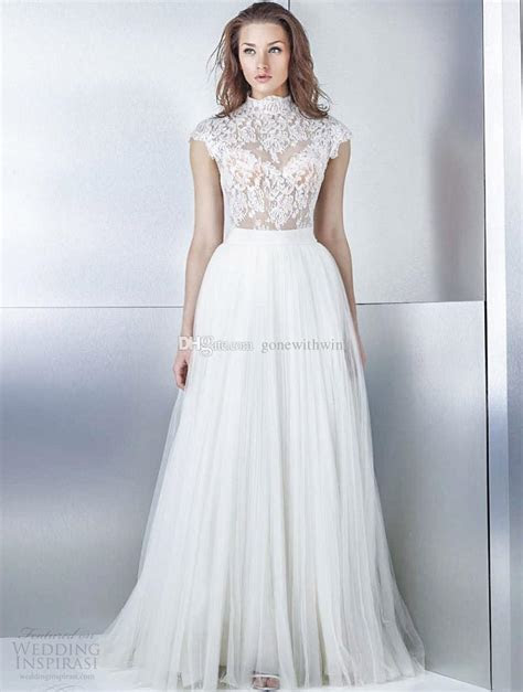 Discount High Neckline Cap Sleeves A Line Wedding Dresses