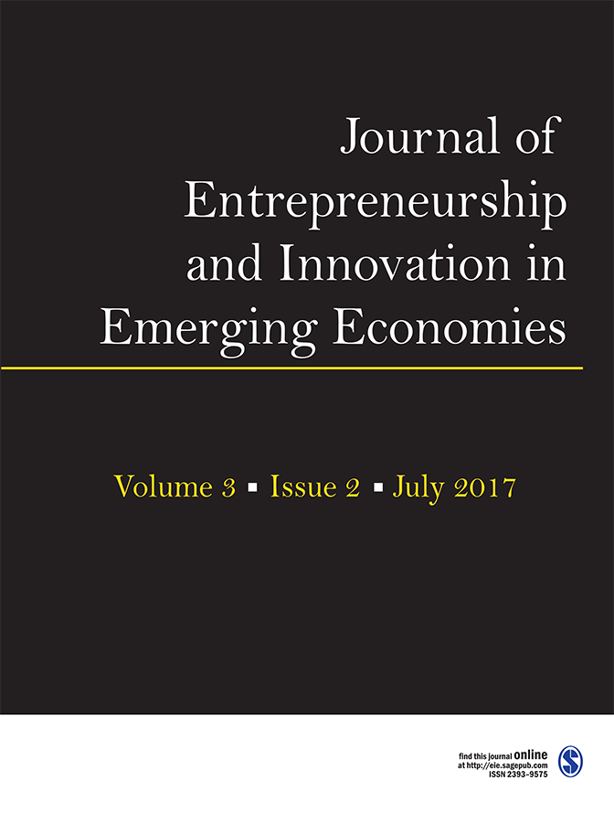 Cover image for latest issue of {{Journal of Entrepreneurship and Innovation in Emerging Economies}}