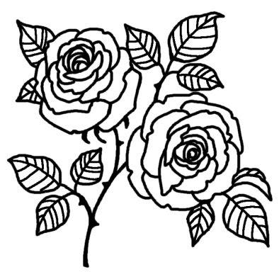 バラ5バラ薔薇花無料白黒イラスト素材