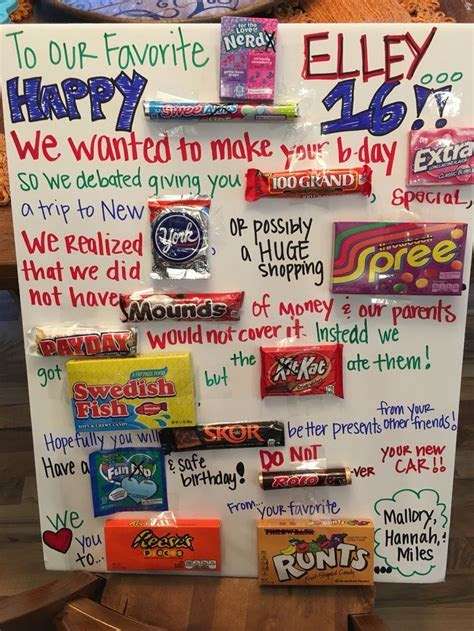 """Sweet 16"" Candy Poster   Birthday ideas   Pinterest   16"