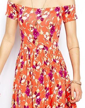 Image 3 ofASOS Midi Bardot Skater Dress in Floral Print