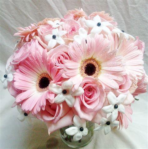 Pink Gerbera Daisies and Stephanotis Bridal Bouquet