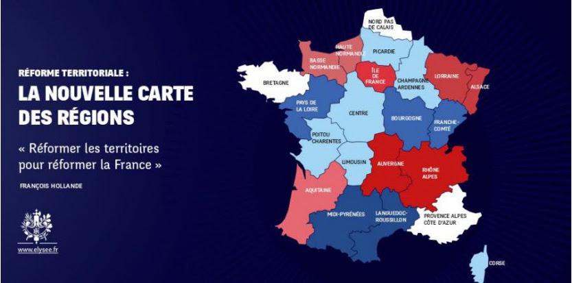 Carte des fusions des régions.