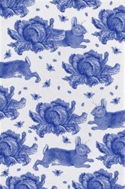 Siniste jäneste ja kapsapeadega köögirätik firmalt Thornback & PeelAllikas: www.housetohome.co.uk