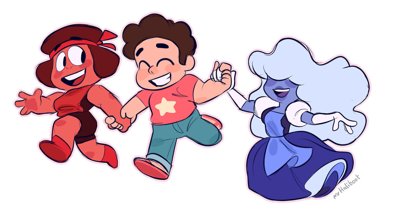 Bigger version of that Ruby Steven and Sapphire doodle because I love it so much ❤