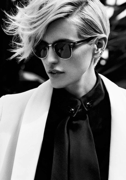 LE FASHION BLOG MASCULINE INSPIRED VIA FRANKIE BATISTA MARIE CLAIRE MEXICO SHORT HAIR ASYMMETRICAL HAIRCUT WAVY TOP MULTIPLE EAR PIERCINGS HOOP EARRINGS RAY BAN CLUBMASTER SUNGLASSES BLACK SATIN SHIRT WHITE BLAZER JACKET BLACK WHITE PORTRAIT  photo LEFASHIONBLOGMASCULINEINSPIREDVIAFRANKIEBATISTAMARIECLAIREMEXICO.jpg