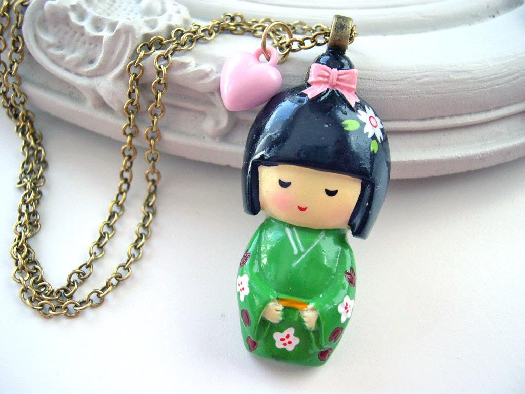 Green Kokeshi Doll necklace kawaii