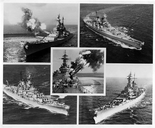 Different snapshots of the USS Iowa and her sisters: The New Jersey (center/lower left), Missouri (upper left), Wisconsin (lower right) and the Iowa (upper right).