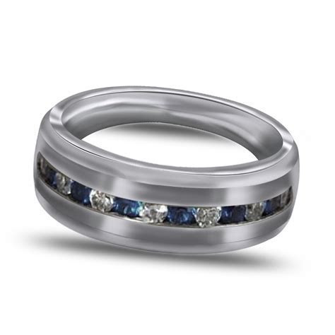 8MM Sterling Silver Wedding Band Mens Ring Blue & White