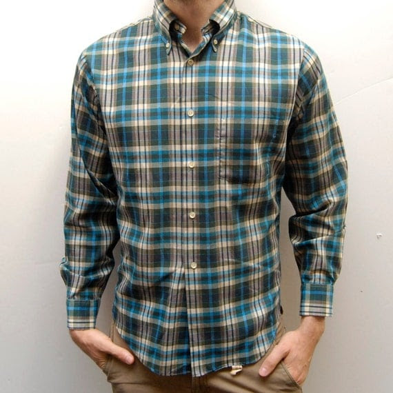 VIBRANT PLAID 60s long sleeve TURQUOISE  button up shirt