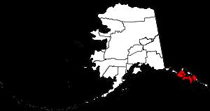 Map of Alaska highlighting the Hoonah-Angoon C...