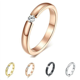 3MM Black/Silver/Rose/Gold CZ Titanium Steel Ring Men
