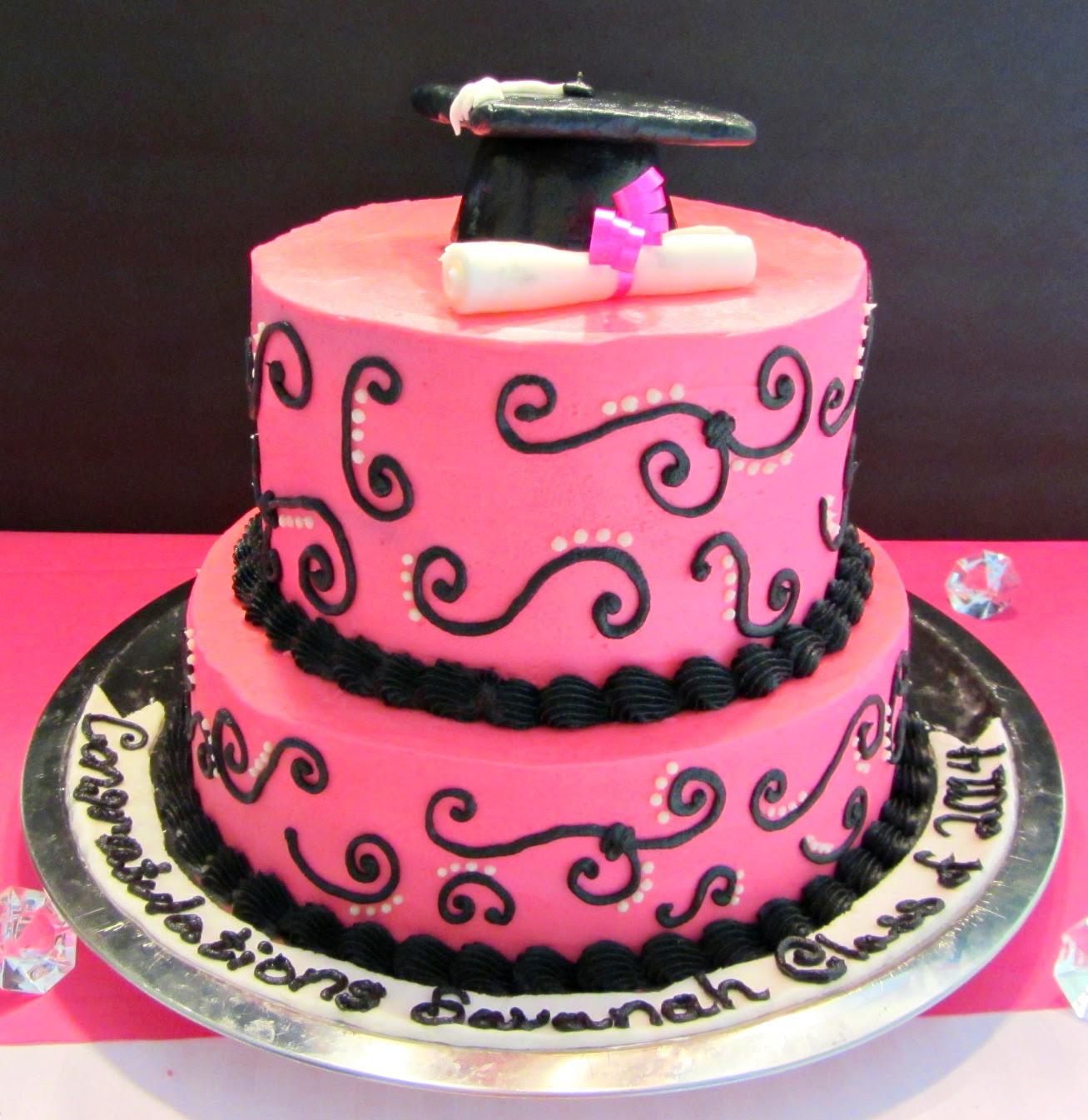 Pink And Black Graduation Cake A Bajillian Recipes