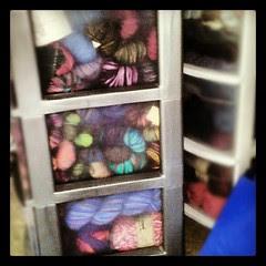 TINY fraction of my #sockyarn #stash #yarn #craftsupplies #crafting #knitting #knit #getyourkniton #organizing